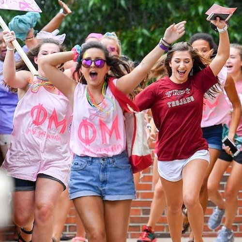 Phi Mu sisters on bid day at Troy University