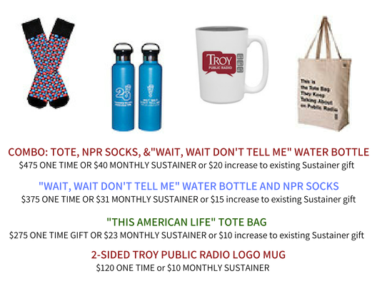 Premium Options: npr socks, water bottle, troy public radio mug, and public radio tote bag