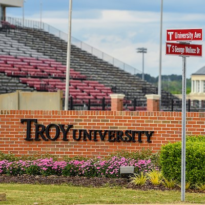 New street signs on Troy University's campus