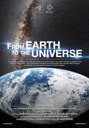 picture with earth in forefront and milky way in the background.  show title From Earth to the Univrse