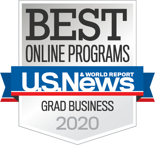 U.S. News and World Report Best Online Grad Business Programs 2020 badge