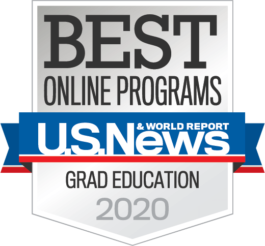 U.S. News and World Report Best Online Grad Education Programs 2020 badge