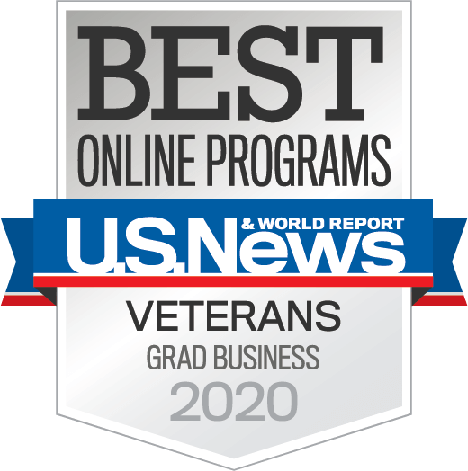 U.S. News and World Report - Best Online Programs Veterans Graduate Business 2020 badge