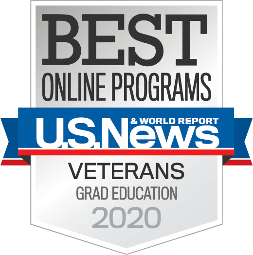 U.S. News and World Report Best Online Grad Education Programs for Veterans 2020 badge