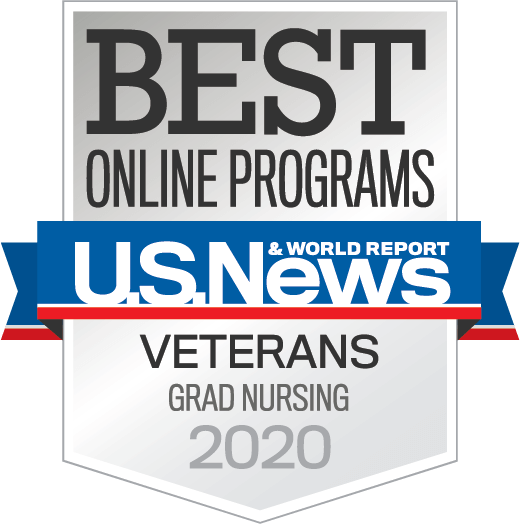 U.S. News and World Report Best Online Grad Nursing Programs for Veterans 2020 badge